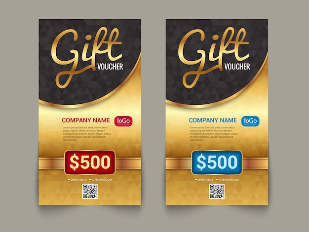 Gift voucher market template with golden tag market design Premium Vector