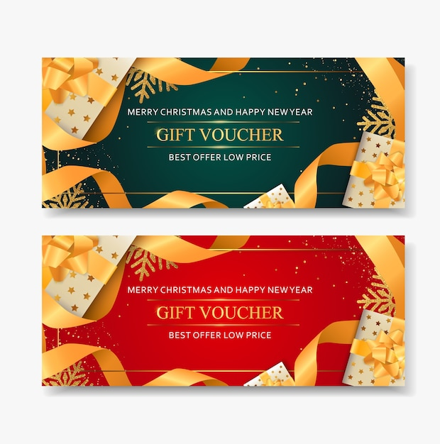 Gift voucher merry christmas template with snowflakes gold. Premium Vector