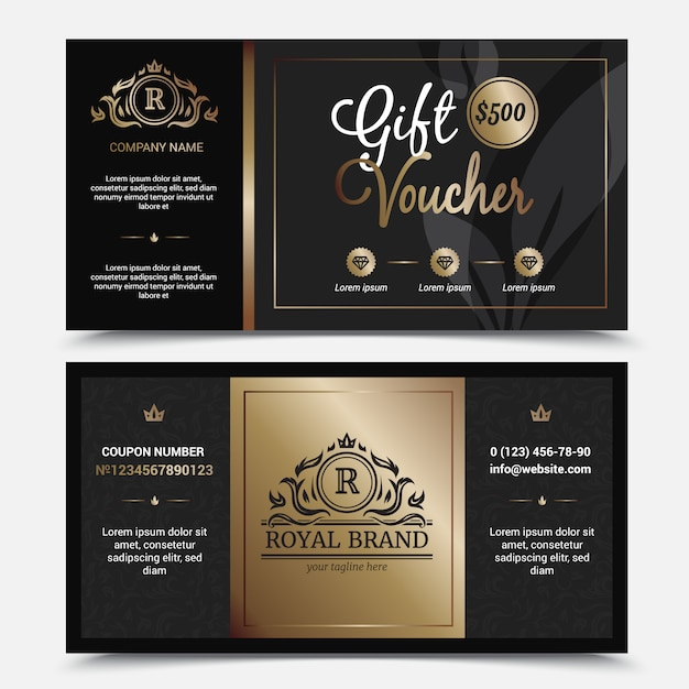Gift voucher royal brand template with ornate flourishes crowns Free Vector