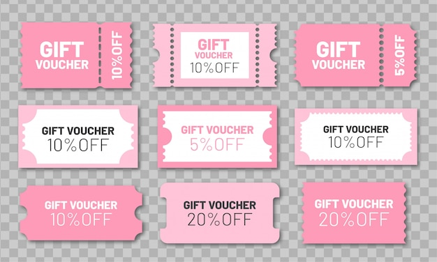 Подарочный набор. розовые купоны на скидку 5, 10 и 20%. Premium векторы