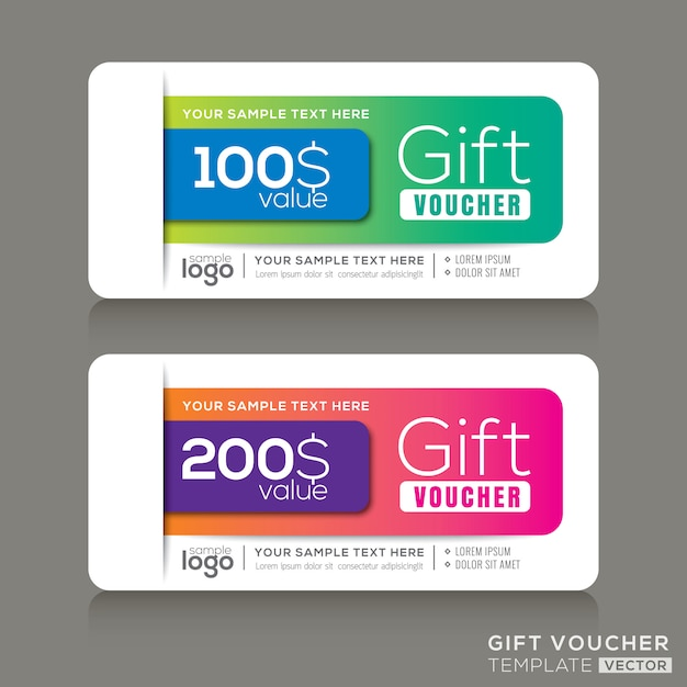 Gift voucher template with abstract colorful modern design Premium Vector
