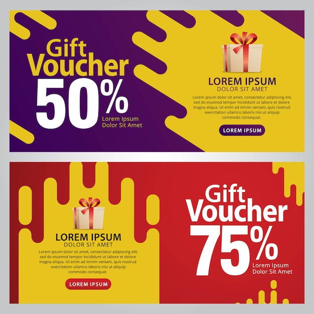 Gift voucher template with clean and modern pattern. Premium Vector