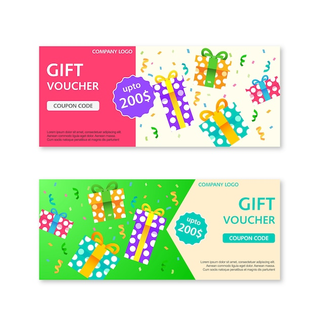 Gift voucher template with gift boxes Premium Vector