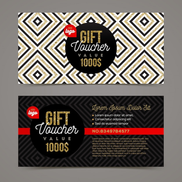 Gift voucher template with glitter gold elements.  illustration. Premium Vector
