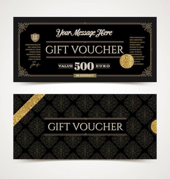 Gift voucher template with glitter gold,  illustration. Premium Vector