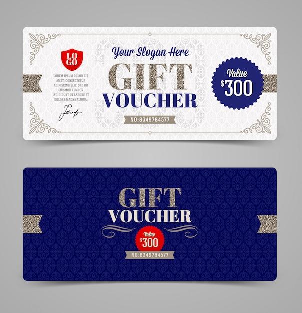 Gift voucher template with glitter silver,  illustration, Premium Vector