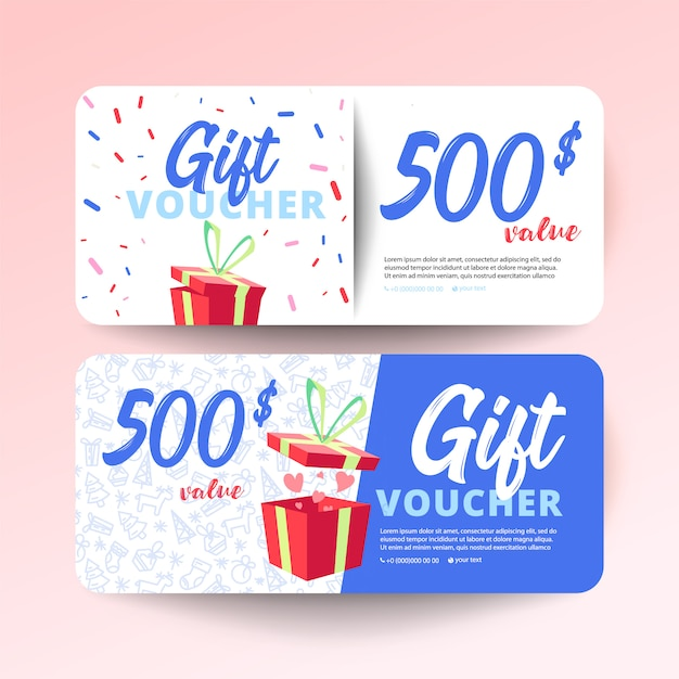 Gift voucher template with hearts and a gift box Premium Vector