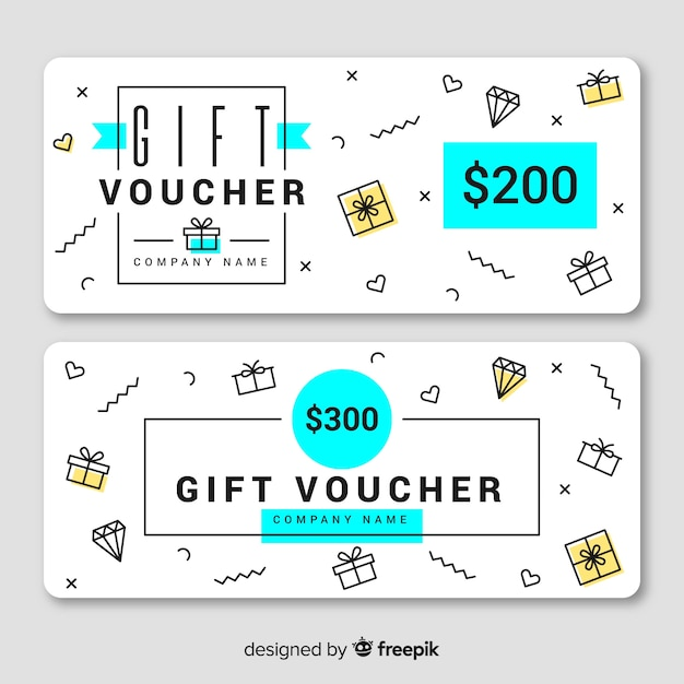 Gift voucher template with modern style Free Vector