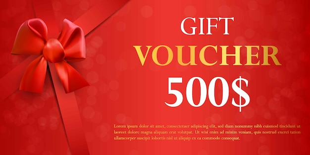 Gift voucher template with red bow. Premium Vector