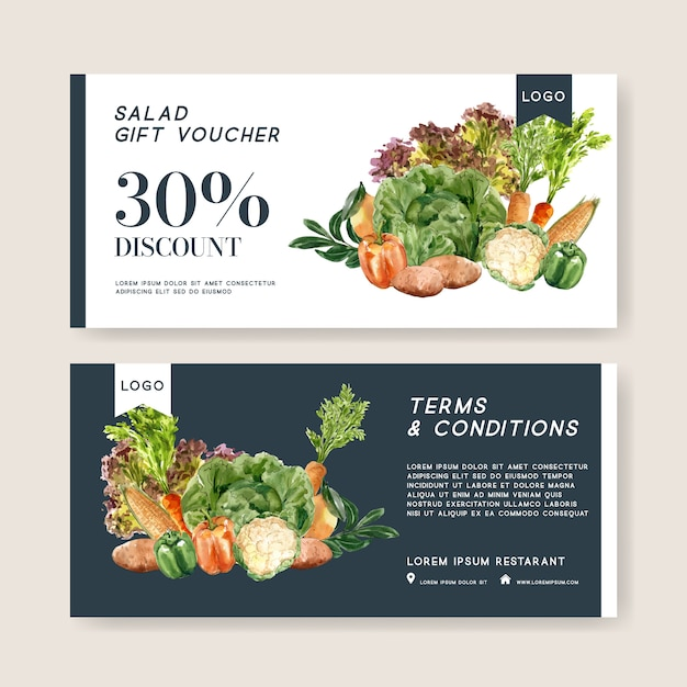 Gift voucher vegetable watercolor paint collection. fresh food organic healthy illustration Free Vector