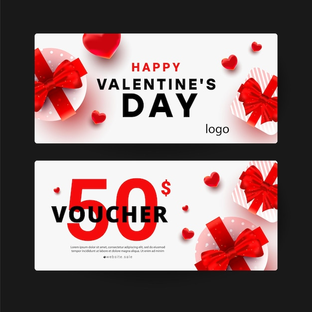 Gift voucher with discount template with realistic surprise gift boxes, love shape decor. Premium Vector