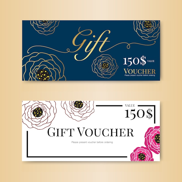 Gift voucher with flower  and gold template Premium Vector