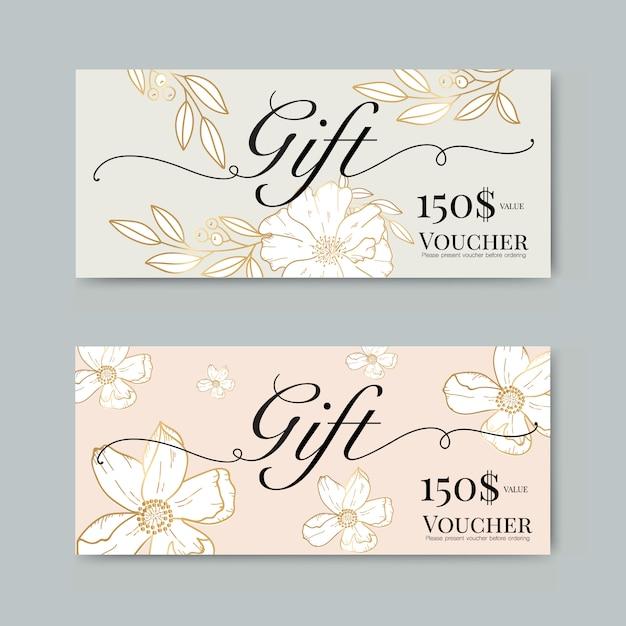 Gift voucher with gold flower Premium Vector