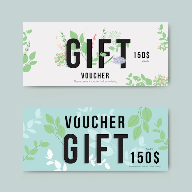 Gift voucher with gold flower Premium Vector