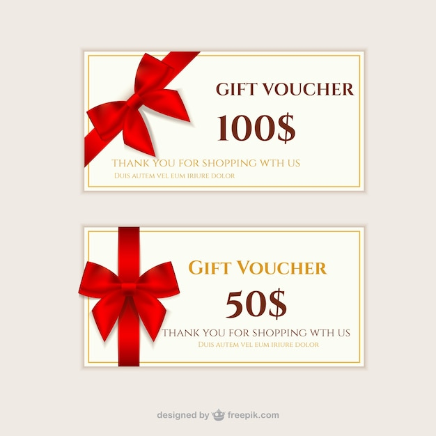 Gift vouchers pack Free Vector