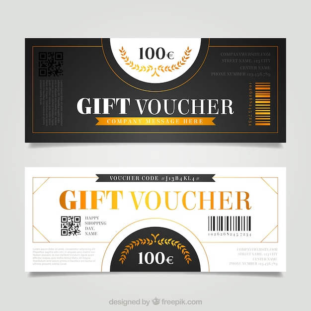 Gift vouchers in retro style Free Vector