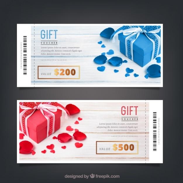Gift vouchers templates with golden details Premium Vector