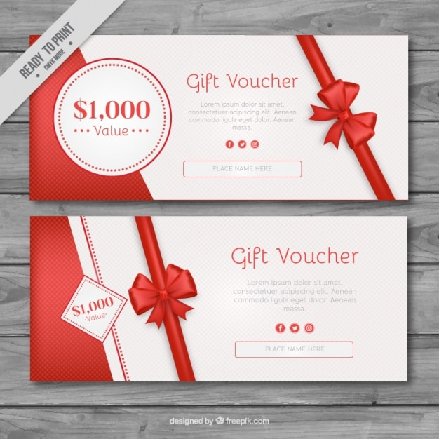 Gift vouchers with red ribbons Free Vector