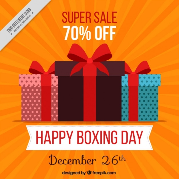 Gifts background of boxing day