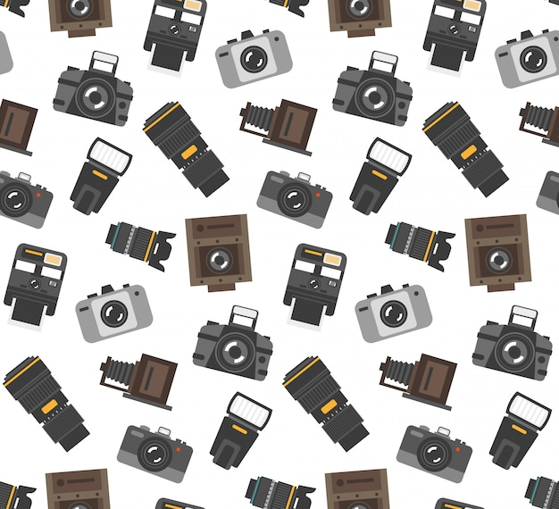 Gifts and gear for photographers wrap paper seamless pattern with modern and retro camera Free Vector