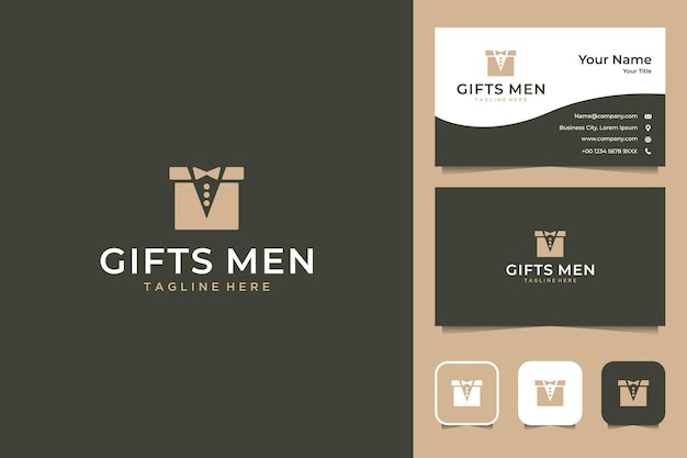 Gifts for men with box and suit logo design and business card Premium Vector
