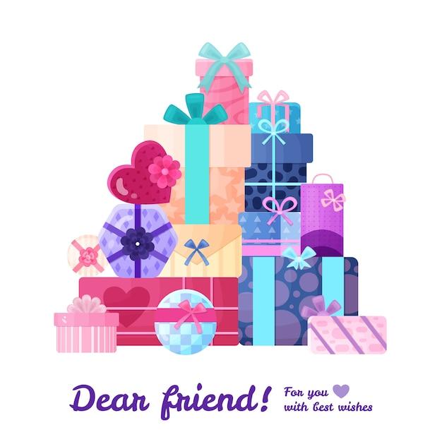 선물은 아름다운 포장 평면 구성으로 둥근 사각형 및 직사각형 모양의 상자 패키지를 제공합니다. 무료 벡터