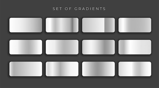 Gilver metallic gray gradients set vector illustration Free Vector