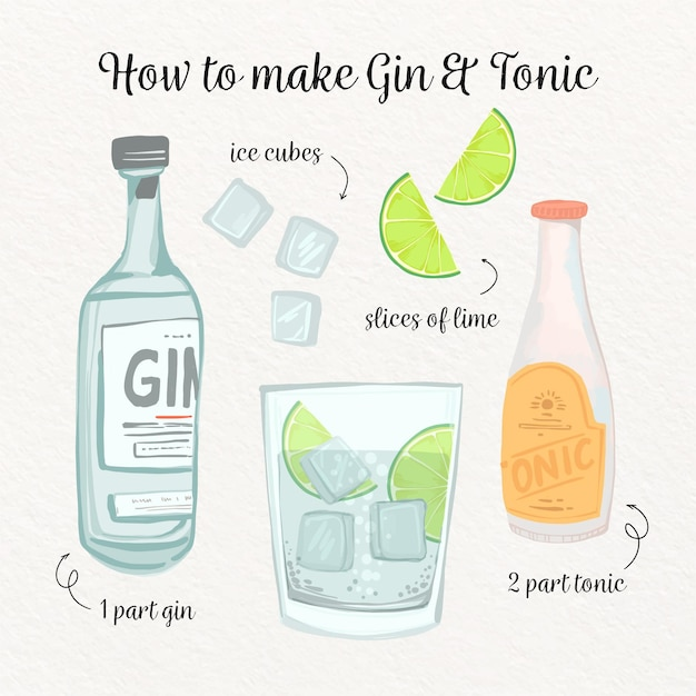 Gin and tonic cocktail recipe Premium Vector