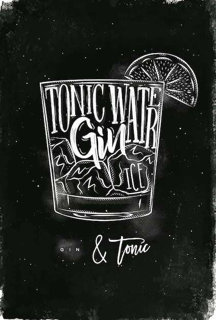 Gin tonic cocktail with lettering on chalkboard style Premium Vector