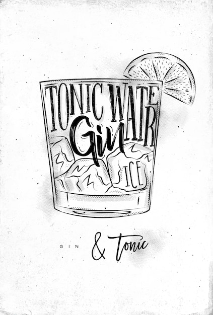 Gin tonic cocktail with lettering Premium Vector