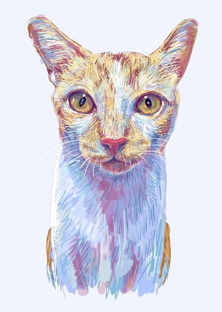 Ginger cat, portrait of cute kitten, hand drawing illustration Premium Vector