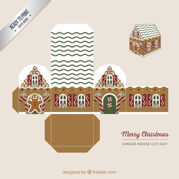 Ginger house box Premium Vector