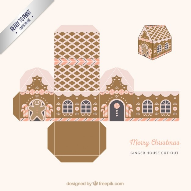 Ginger house, cut out box Free Vector