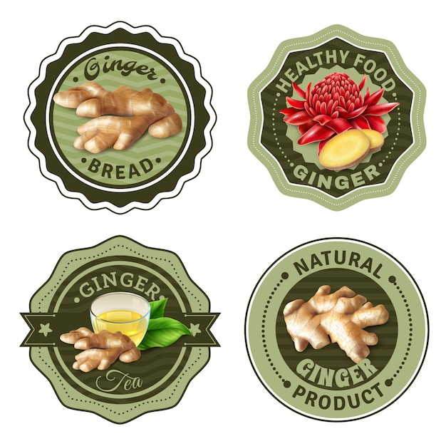 Ginger products labels set Free Vector