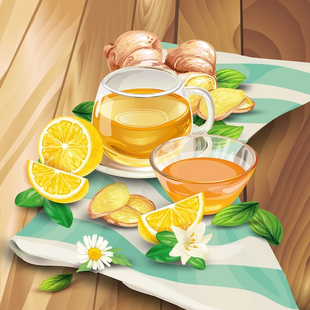 Ginger tea composition on wooden background Free Vector