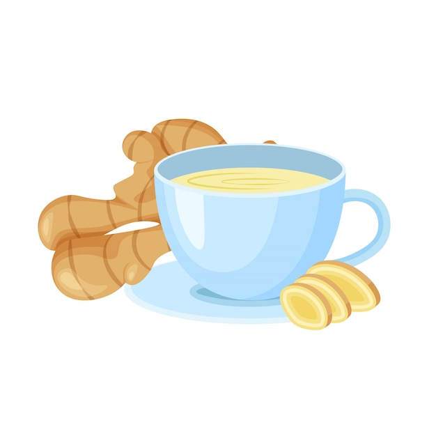 Ginger tea in a cup isolated on white background. fresh ginger root. vegan food icons in a trendy cartoon style. healthy food concept for design. Premium Vector
