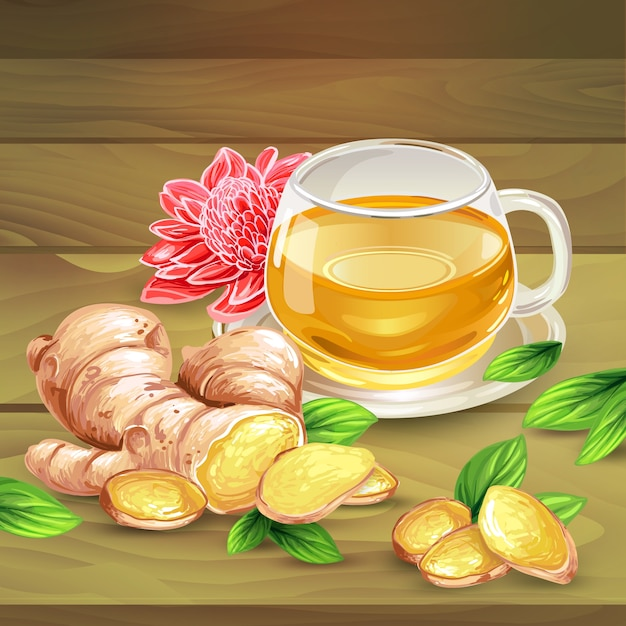 Ginger tea vector composition on wooden background Free Vector