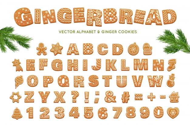 Gingerbread alphabet. christmas vector ginger cookies Premium Vector