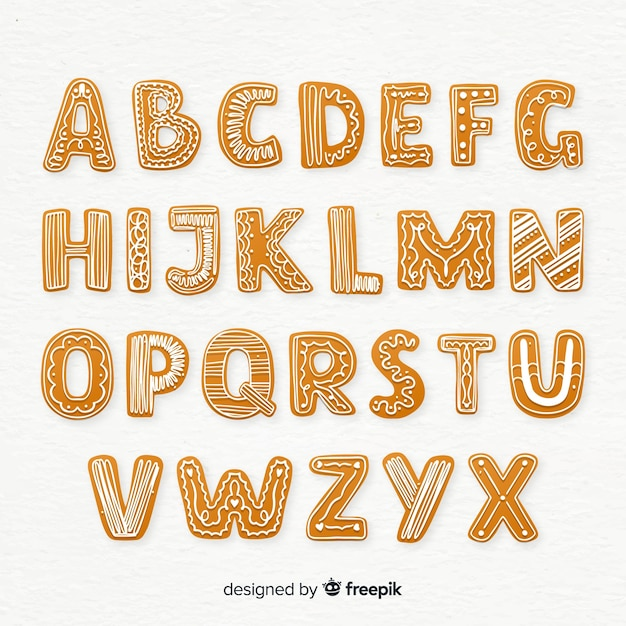 Gingerbread alphabet Free Vector