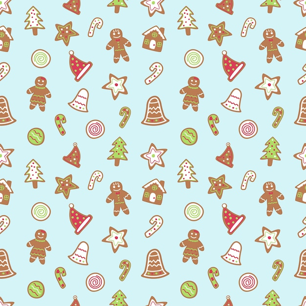 Gingerbread cartoon seamless pattern. Premium Vector