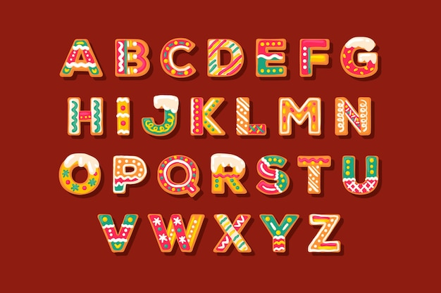 Gingerbread christmas alphabet pack Free Vector