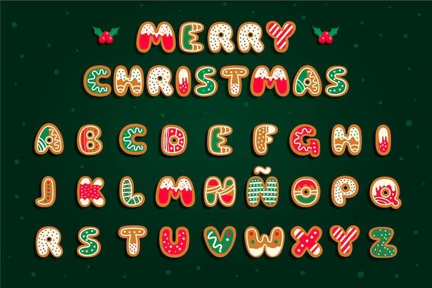 ジンジャーブレッドのクリスマスアルファベットセット Premiumベクター