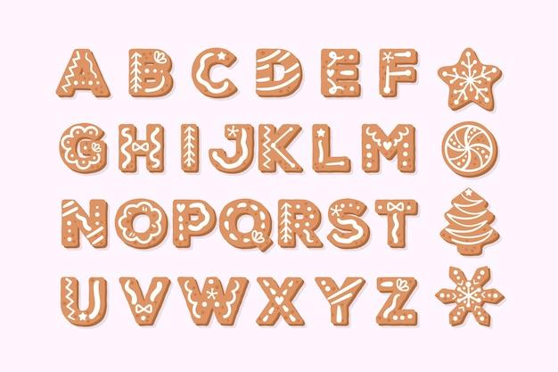 Gingerbread christmas alphabet Free Vector