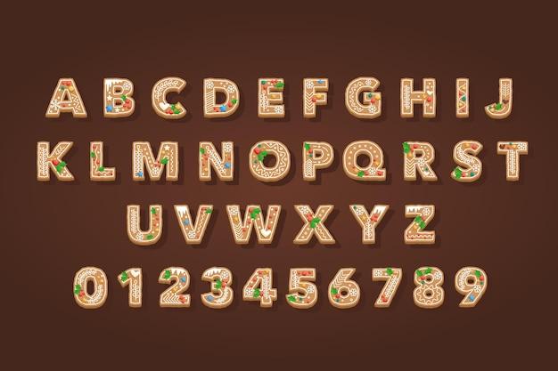 ジンジャーブレッドのクリスマスのアルファベット Premiumベクター