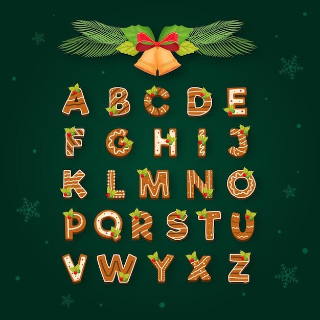 Gingerbread christmas alphabet Premium Vector