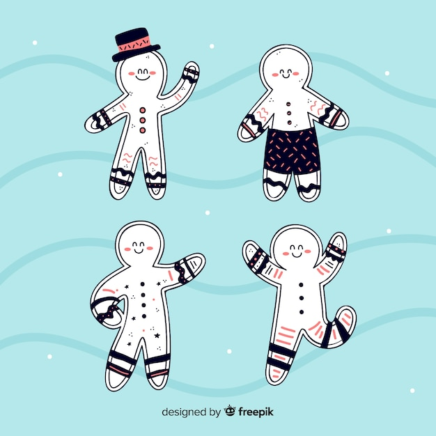 Gingerbread cookies collection Free Vector