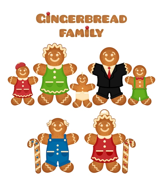 Gingerbread family. confectionery son mother father grandmother daughter grandfather. Free Vector