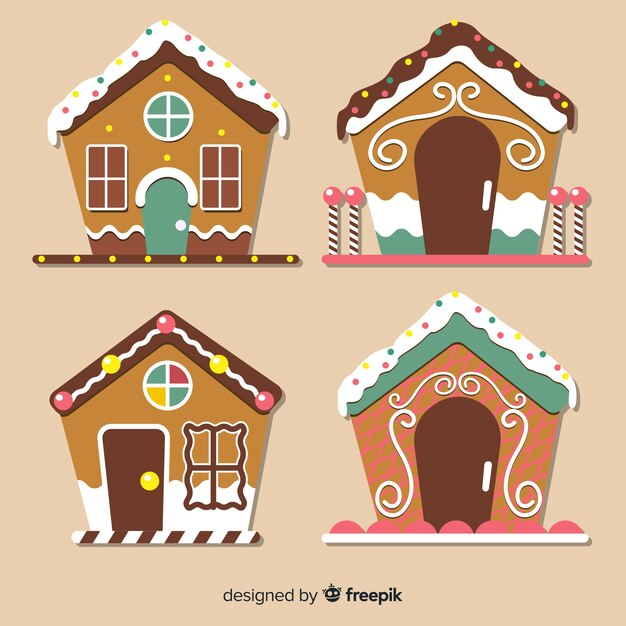 Gingerbread flat house collection Free Vector