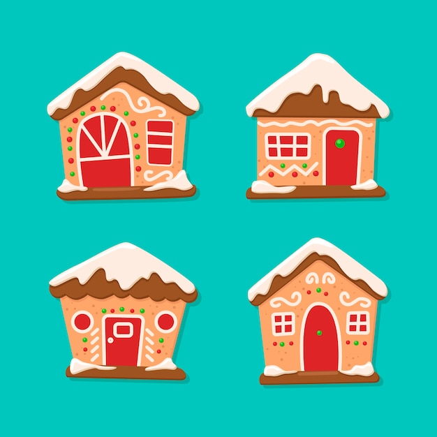 Gingerbread house collection for christmas Free Vector