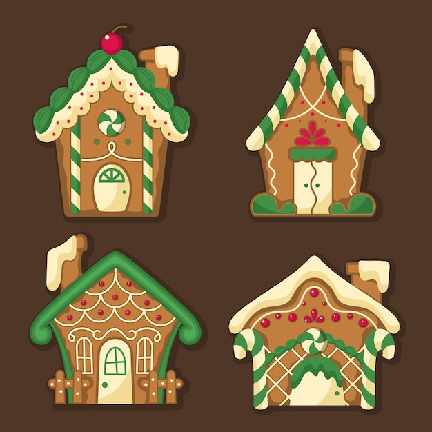 Gingerbread house collection in flat design Free Vector